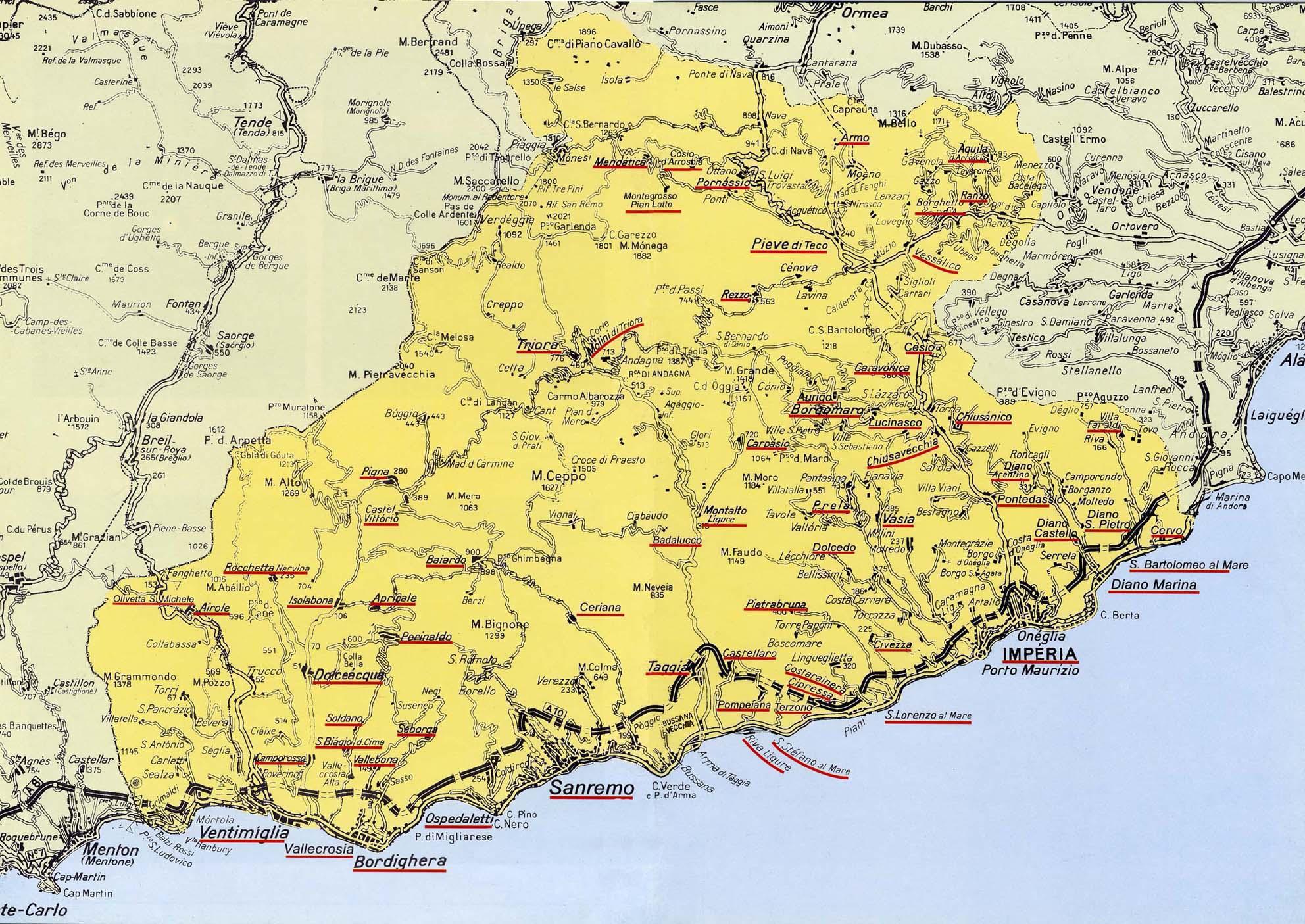 Cartina Politica Liguria Ponente.Cartina Ponente